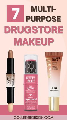 These multi-purpose drugstore makeup products will save you time, money and help you declutter and streamline your makeup routine. #bestdrugstoremakeup #multipurpose Best Drugstore Eyeshadow, Best Drugstore Concealer, Best Drugstore Products, Best Drugstore Foundation, Drugstore Beauty, Best Cheap Makeup, Hair And Makeup Tips, Best Makeup Brushes, Skincare Blog