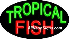"""Tropical Fish Flashing Neon Sign-ANSAR14205  Dimensions: 17""""H x 30""""L x 3""""D  Custom colors ship in 5-7 business days  110 volt flasher transformer  Cool, Quiet, and Energy Efficient  Hardware & chain are included  Comes standard with 6' power cord  Indoor use only  1 Year Warranty/electrical components  1 Year Warranty/standard transformers"""