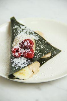 Spirulina Protein Crepes with Banana Ice Cream (raw, vegan)