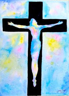 Acuarela original pintura Jesús 11 x 15 por LimonArtStudio en Etsy