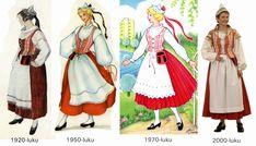 Kansallispuku - arkea ja juhlaa: Joulukalenteri 2013 - luukku 11: Kansallispukujen muutokset vuosikymmenien aikana