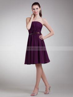 Straight Neckline Chiffon Short A Line Party Dress with Belt