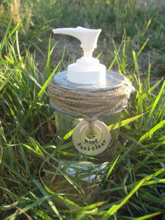 diy-soap-dispensers - Mason Jar + twine or add shells or Legos to clear bottle