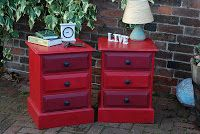 Two Solis Pine Hand made Chest of Drawers in Emperors Silk and a custom blend of the red and black chalk paints.  Available to by at £85 each