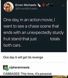 One day, in an action movie,I want to see a chase scene that ends with an unexpectedly sturdy fruit stand that just totals both cars. One day it will get its revenge CABBAGES: This time, it's personal. Stupid Funny, The Funny, Really Funny, Hilarious, Funny Stuff, Tumblr Funny, Funny Memes, Funny Cars, Jokes