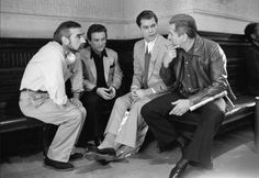"On the set of ""GoodFellas"", L to R: Co-writer/director Martin Scorsese, Joe Pesci, Ray Liotta, Robert De Niro. Martin Scorsese, Al Pacino, Alter Ego, Goodfellas 1990, Ray Liotta, Streaming Hd, Portraits, Great Films, Irish Men"