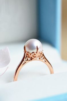 c225f5444 Pearl Engagement Rings For A Beautiful Romantic Look ☆ See more: https://