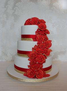 Red & Gold Rose Cascade Wedding Cake - Cakes by Natalie Porter - Hertfordshire and Essex