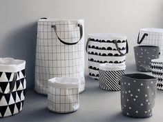 Panier en tissu - http://la-petite-epicerie.fr/fr/corbeilles-et-paniers/8945-panier-en-tissu-quadrillage-noir-et-blanc.html