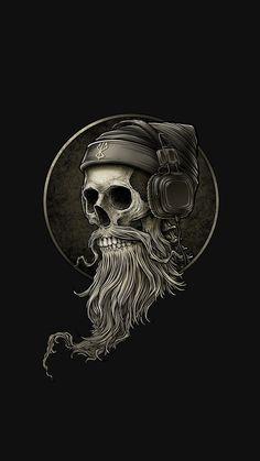 Pin by Horst Kmieciak on Kopfhörer tattoo in 2020 Totenkopf Tattoos, Beard Logo, Beard Tattoo, Trash Polka Tattoos, Hirsch Tattoo, Skull Artwork, Skull Wallpaper, Beard Styles For Men, Skull Art