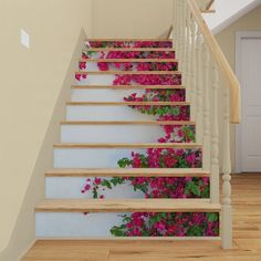 Vinyl Stair Decals for Staircase Riser Decor Decorative Staircase Decals, Staircase Design, Staircase Remodel, Vinyl Panels, Stair Stickers, Marble Stairs, Photo Mural, Flower Wall, Wall Flowers