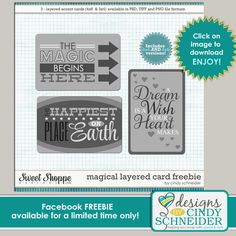 Magical journal card templates freebie from Designs by Cindy Schneider