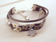 Bracelet argenté liberty et suédine avec nuage - gris violet beige argenté - : Bracelet par crea-sica