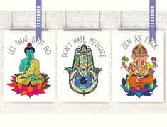 Let that Sh*t Go, Don't hate meditate, Buddha art, Ganesha, Zen as F*ck, Elephant, Bathroom Art, Yoga print by NarwhalDesignInk on Etsy https://www.etsy.com/listing/523251992/let-that-sht-go-dont-hate-meditate