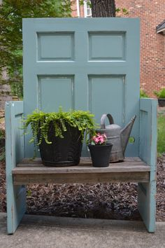 Create a DIY Garden Bench Using Items You Already Have at Home - Converted Door Bench: An old door gets a new life in the form of this rustic blue-green garden ben - Repurposed Furniture, Diy Furniture, Repurposed Doors, Recycled Door, Recycled Pallets, Refurbished Door, Dresser Repurposed, Upcycled Cabinet, Repainting Furniture