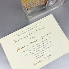 """Fresh Ink Portfolio on Instagram: """"Such a beautiful combination of modern calligraphy with gold accents. Kim Faucette and Andy Duncan wedding invitations."""""""