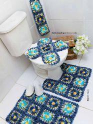 Juego de baño de crochet granny