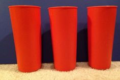 TUPPERWARE Tumblers RETRO ORANGE Drink Cups Stacking  Duck Dynasty Uncle Si 3pc