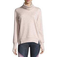 Alo Yoga Haze Long-Sleeve Turtleneck Sweatshirt ($93) ❤ liked on Polyvore featuring tops, hoodies, sweatshirts, buff heather, pink top, long sleeve tops, long sleeve turtleneck top, pullover sweatshirt and sweater pullover