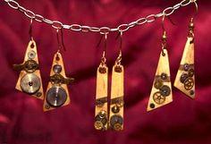 Watch gears on wood base earrings - Description of how she does it: kathryn-adams-woodcraft-and-watch-parts