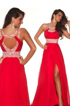 2014 Sexy Prom Dresses A Line Scoop Sweep/Brush Red Chiffon Open Back St007