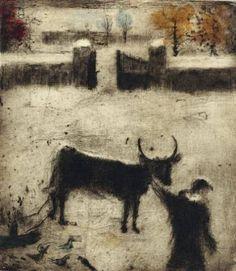 Bohuslav Reynek- Pieta na dvoře Monochrome Painting, Light And Shadow, Painting & Drawing, Moose Art, Wall Art, Drawings, Artwork, Animals, Painters