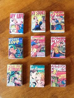 Pulp Romance Comic Covered Matchboxes Set of 9 by Sillysockmonkeys, $12.00
