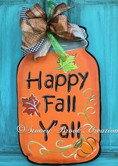 Fall Decor, Fall Door Hanger, Mason Jar Decor, Fall Wreath, Fall Wreath for front door Thanksgiving Tree, Thanksgiving Decorations, Holiday Decorations, Diy Home Crafts, Jar Crafts, Primitive Fall Crafts, Mason Jar Cards, Wooden Door Signs, Mason Jar Projects