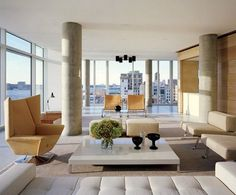 """""""Reflecting on an Ideal"""" Architectural Digest Architectural Digest, City Living, My Living Room, Living Spaces, Living Area, Architecture Design, Glass Curtain Wall, New York Apartments, Round House"""