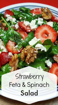 Strawberry Feta Spinach Salad Recipe Don't you just love strawberry season? - Strawberry Feta Spinach Salad Recipe Don't you just love strawberry season? Spinach Salad Recipes, Healthy Salad Recipes, Healthy Snacks, Vegetarian Recipes, Healthy Eating, Cooking Recipes, Summer Salad Recipes, Dinner Healthy, Side Salad Recipes