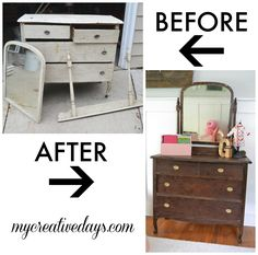 The paint on this dresser was coming off so I decided to strip it and stain it! A dresser makeover without paint from mycreativedays.com.