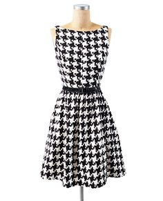 sleeveless houndstooth belted dress with flared skirt and detachable black belt