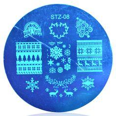 1 unids de Navidad NAVIDAD 5.5 cm Ronda Nail Art Sello Plantilla Placa de la Imagen # STZA08