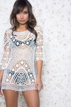 Harbor Lights White Crochet Cover Up – The Laguna Room