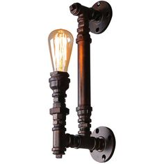 Vintage Industrial Style Black Iron Pipe Wall Sconce ($67) ❤ liked on Polyvore featuring home, lighting, wall lights, iron lamp, black wall lights, handmade lamps, iron light and black sconces
