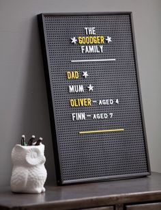A great idea, use a changeable price board pegboard as wall art. Could be used for my weekly menu or for positive quotes every week to add variety to the home.