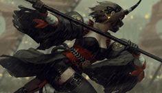 HD wallpaper: original characters, anime girls, GUWEIZ, Z. Lugia, Fantasy Characters, Anime Characters, Fanart, Samurai Art, Baguio, Warrior Girl, Animal Ears, Character Illustration