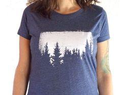 womens graphic tee trees t shirt screen printed t shirt