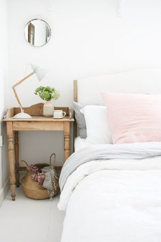 The french bedroom company blog: Bedside Story - Inventive ways with bedside tables, from vintage trunks, magazine stacks of vogue, DIY bedside project, cool stool, classical bedsides, vintage suitcases and stacks of Vogue Magazine and chairs. See all the ideas over on the blog. Striped wooden bedside and table lamp from Apartment Apothecary