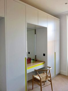 Fitted wardrobes with colourful handle detail Fitted Wardrobes, Furniture Design, Divider, Handle, Detail, Room, Projects, Home Decor, Bedroom