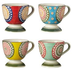 Charming mugs that are perfectly sized for an after dinner cup of coffee or herbal tea. A round of hot drinks served from these colourful mugs, together with a treat from one of our matching plates will make a very fitting end to your feast.