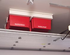 Install the system in the empty area above the garage door. Build this simple, slide-in storage system for your garage. Garage Ceiling Storage, Overhead Garage Storage, Outdoor Storage, Diy Garage Storage, Garage Organization, Storage Sheds, Workshop Organization, Household Organization, Architecture Design