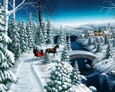 Bundle up with some hot-cocoa and head through the woods on our winter Sleigh Ride! With so much snow and similar colors, this sleigh ride is sure to provide hours of enjoyment! Jigsaw puzzles by Springbok. Finished size x Thomas Kinkade Art, Thomas Kinkade Christmas, Snow Scenes, Winter Scenes, Christmas Scenes, Christmas Art, Christmas Sleighs, Christmas Graphics, Winter Pictures