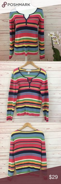 """Jones New York Sport Multicolored Ribbed Sweater Multicolored, striped, ribbed, long sleeve sweater with three button closure. 100% cotton. Measurements approximately as follows: bust 42"""", sleeves 24.5"""" and length 24"""". Stretchy. Excellent condition. Jones New York Sweaters"""