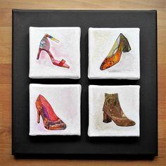 Alle meine Schuhe - sind es nicht! - 4 kleine Acrylbilder auf einem Keilrahmen, Handgemalt, Original, Unikat Acryl-Pouring Fließtechnik und Zellenbildung mit Strukturpaste und Acrylfarben. Coasters, Anna, Canvas Frame, Canvas, Drawing S, Creative, Coaster