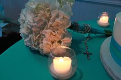 simple hydrangea bouquet with rosary beads photo credit: Katie Falkiewicz