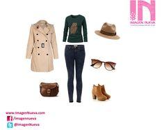 Un #estilo casual para el otoño, lo conforman los jeans oscuros, el clásico trench coat beige, botines cafés, el sombrero tipo Indiana.  Sin olvidarnos de complementos como el bolso marrón y las maxi gafas semi oscuras.