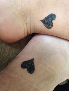 Hearts with Finger Prints Best Friend Tattoos