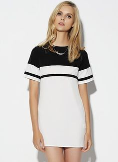 Polyester Color Block Short Sleeve Mini Casual Dresses