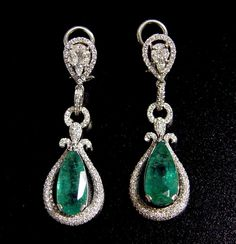 """10.90CT Emerald & 2.40CT Diamond Chandelier Earrings 50MM(2.0"""") 14K $28785 #Chandelier"""